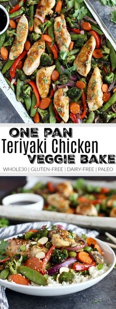 Full of flavor, nutrient-dense veggies and satisfying protein. This One-Pan Teriyaki Chicken Veggie Bake that's made with a simple homemade teriyaki sauce is Whole30-friendly and perfect for weeknight dinners.Whole30 | Gluten-free | Dairy-free | Paleo | https://therealfoodrds.com/one-pan-teriyaki-chicken-veggie-bake/