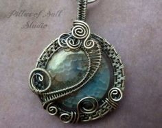 Antiqued silver pendant, wire wrapped jewelry handmade, sterling silver filled wire, Aqua agate gemstone, woven wire jewelry, silver jewelry