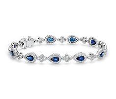 Sapphire and Pavé Diamond Halo Bracelet in 18k White Gold #bluenile