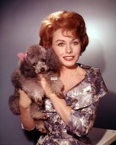 0 jeanne crain with a poodle