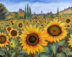 sunflower fields tuscan landscape