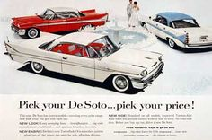 1958 DeSoto original vintage advertisement. Features three models: Firedome Sedan, Firesweep Sedan, and the Fireflite Coupe.