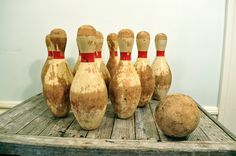 Vintage bowling pins and ball