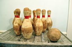 Vintage bowling pins and ball