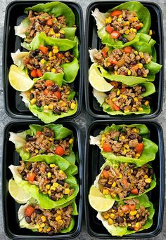 These low carb taco lettuce wraps make an easy and flavorful meal that can be prepared ahead of time for your weekly meal. Prepped Lunches, Work Lunches, Lunch Recipes, Recipes For Meal Prep, Kids Cooking Recipes, Meal Prep For The Week Low Carb, Meal Prep For Beginners, Easy Recipes, Healthy Recipes