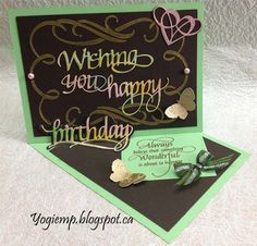 Queen of Hearts 2017 Blog Hop to Sat Feb 18th. Side easel card; #ElizabethCraftDesigns dies Wishing You Happy Birthday, flourished heart and stencil Flourished Frame; #QuietfireDesign quote stamp and butterflies; ribbon/gems; http://yogiemp.blogspot.ca/2017/02/queen-of-hearts-2017-blog-hop-mc-feb17.html