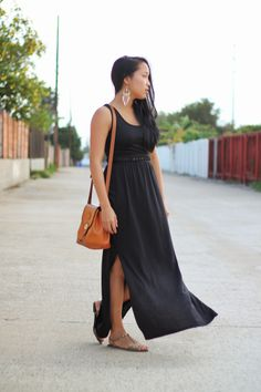 Beautiful days in California call for long maxi dresses and sandals.