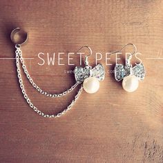 Pearl Bow Rhinestone Stud Ear Cuff and Silver by sweetpeepshere