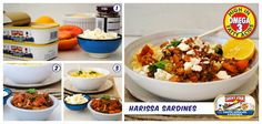 Harissa Sardines with Herbed Cous Cous and Feta.  Get the Lucky Star recipe here > http://afoodieliveshere.co.za/recipes/quick-fixes/harissa-sardines-with-herbed-cous-cous-and-feta/