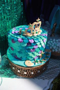 Little Mermaid themed birthday party via Kara's Party Ideas KarasPartyIdeas.com Cake, decor, printables, supplies, recipes, etc! #littlemermaid #mermaidparty (8)