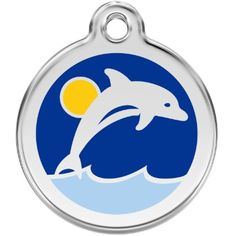 Custom Engraved Stainless Steel and Enamel Dog ID Tag - Dolphin (Small) ** Learn more by visiting the image link. (This is an affiliate link) #IDTags