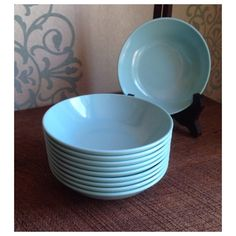 Vintage turquoise blue melamine dessert dishes  Roymac Melmac by Royalon USA by shhhitsvintage on Etsy https://www.etsy.com/listing/280396942/vintage-turquoise-blue-melamine-dessert