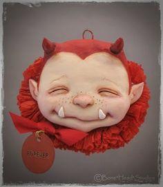 Sweet lil' devil created by Flora Thompson of Bone*Head*Studios. Halloween Scene, Halloween Ii, Halloween Ornaments, Halloween Pictures, Halloween Jewelry, Halloween Ghosts, Halloween Projects, Halloween Pumpkins, Halloween Decorations