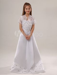 White Beaded Satin Flower Girl Dress - Milanoo.com