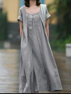Grey Linen dress women dress fashon dress Long dress