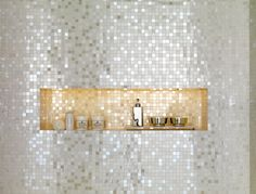 New bath room tiles mosaic sparkle Ideas Bad Inspiration, Bathroom Inspiration, Bathroom Ideas, Shower Ideas, Tile Shower Niche, Shower Walls, Shower Door, Shower Shelves, Room Tiles