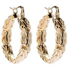"Antalia™ Turkish Jewelry 18K Gold Embraced™ 1.5"" Textured Hoop Earrings evine.com byzantine chain"