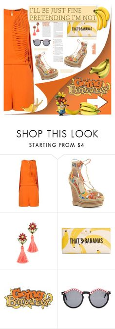 """Going Bananas"" by fassionista ❤ liked on Polyvore featuring Sachin + Babi, Jessica Simpson, Elizabeth Cole, Kate Spade, Frēda Banana, romper, fashionset, orangetastic and TropicalStyle"