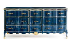 Baroque Dresser - Instant Furniture Makeovers - Southern Living - The makeover:Metallic gold trim highlights this piece's…