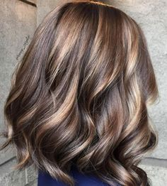 Caramel and chocolate toned brunette. Delish! Color by Amy Ziegler.