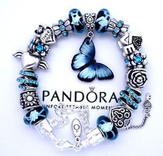 Authentic Pandora 925 Silver Charm Bracelet Blue Butterfly Love European Charms #PandoraBracelet #European