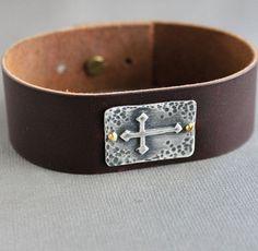 Mens Brown Leather Cuff Bracelet Silver Cross by LynnToddDesigns
