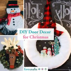 Welcome the holiday season with these DIY Christmas door decor crafts! Diy Christmas Door Decorations, Easy Christmas Crafts, Homemade Christmas, Simple Christmas, Christmas Ornaments, Holiday Decor, Holiday Ideas, Holiday Style, Angel Crafts