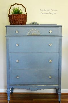 """Here is the very old and beat up chest of drawers in its """"before"""" state! It really had been very badly treated through the years but it still had maintained its charm.  I decided to use Annie Sloan chalk paint in Old Violet. I first added a drop or two of Pure White and...Read More"""