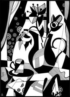 натюрморт, чорно-біле, графіка, папір, квіти, туш, натюрморт, картина, художник, малювання