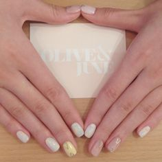 Subtle and pretty and perfect. Love this unique mani by Rieko, one of our newest additions to the OJPAS team! #oliveyourmani  (at Olive and June)