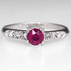 Vintage Ruby Engagement Ring w/ Diamond Accents 14K White Gold 1950's
