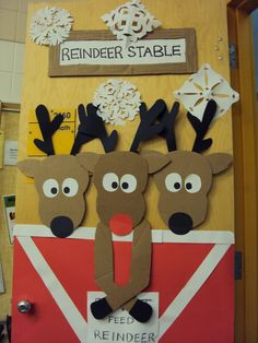 DIY Reindeer Door. Would be cute to do upstairs