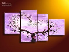 hand-painted oil wall art lavender Red tree Landscape oil painting on canvas 4pcs/set mixorde Framed