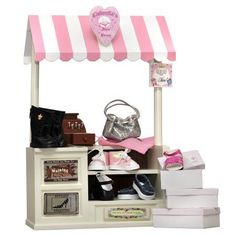 18 In Doll Furniture, Complete Interchangeable Cinderella's Shoe Shop, Signs, Cash Register, Money, Shoes, Boots & Hand Bag, Black