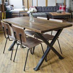 Custom Made Industrial Modern X Frame Reclaimed Wood Dining Table