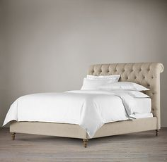 Chesterfield Upholstered Sleigh Bed Without Footboard