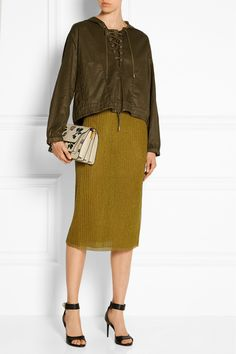 J.Crew|Collection metallic ribbed jersey skirt|NET-A-PORTER.COM