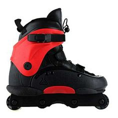 Red and black aggressive inline skates