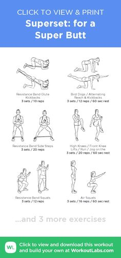Superset: for a Super Butt · WorkoutLabs Fit - Exercises Workout Schedule, Gym Workouts, At Home Workouts, Floor Workouts, Fitness Motivation, Fitness Tips, Reps And Sets, Mental Training, Printable Workouts