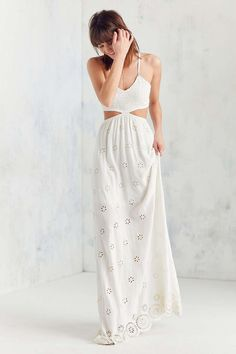Winston White Eyelet Cutout Maxi Dress - Urban Outfitters