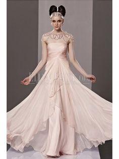 A-line Princess Strapless Floor-length Chiffon Satin Luxury Evening Dresses
