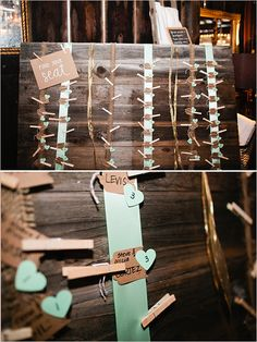 www.specialeventsinstitute.com Clothespins to hang cards. Really adds to the rustic theme!