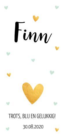 Mooi en hip langwerpig geboortekaartje voor een jongen met hartjes.