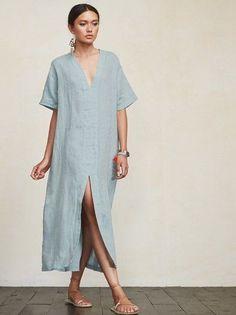 < summer minimalist > – Linen Dresses For Women Casual Summer Dresses, Trendy Dresses, Elegant Dresses, Nice Dresses, Short Dresses, Dress Summer, Summer Outfits, Beautiful Dresses, Simple Dress Casual