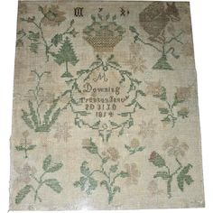An American silk on linen Needlework Sampler by M Downing, Trenton (NJ) and dated January 30, 1814. This sampler is most likely Quaker in origin, with