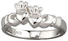 Sterling Silver Double Claddagh at Claddaghrings.com