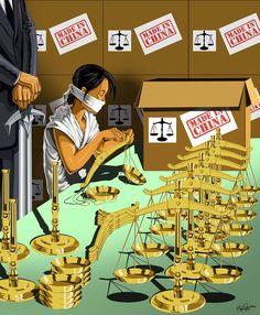 La justicia siempre se ha presentado como una balanza... Otra irónica imagen para denunciar esta sociedad... La nuestra. La misma a la que le permitimos que exploten a personas para que vivan otras sin saber lo que es trabajar.
