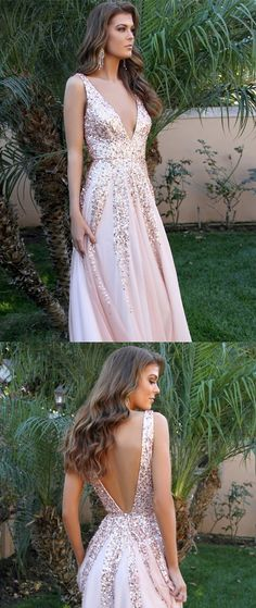 A-line V-neck Sequins Backless Sexy Long Pink Prom Dresses Sexy Prom Dress, V-neck Prom Dress, A-Line Prom Dress, Prom Dress, Prom Dress Backless Prom Dresses 2019 Prom Dresses Long Pink, Sequin Prom Dresses, Backless Prom Dresses, A Line Prom Dresses, Sexy Dresses, Pink Dress, Evening Dresses, Dress Up, Dress Prom