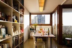 Barbican residential interiors: Marianne and Wayne's flat; photo by Anton Rodriguez Plymouth, Mid-century Interior, Interior Design, Condominium Interior, Barbican, Wood Windows, Interior Photography, Estate Homes, Anton