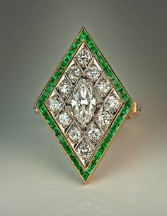 Art Deco Rhombus Shaped Diamond Emerald Gold Ring | From a unique collection of vintage cocktail rings at https://www.1stdibs.com/jewelry/rings/cocktail-rings/